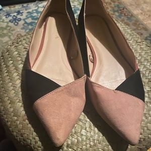 Zara Color Block Satin Slip on pointed toward Shoe
